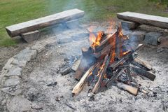 Closeup shot of camping fire. Large fireplace stock image