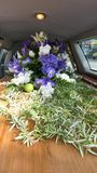 Colorful casket in a hearse or chapel before funeral or burial at cemetery. Closeup shot of a colorful casket in a hearse or chapel before funeral or burial at Royalty Free Stock Photography