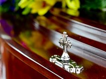 Closeup shot of a colorful casket in a hearse or chapel before funeral or burial at cemetery stock images