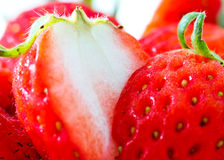 Closeup shot of cut fresh strawberry Stock Photography