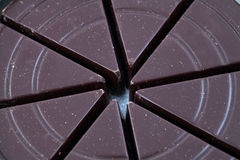 Closeup shot of dark chocolate wedges  in can Stock Photography