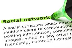 Social Network Dictionary Definition Green Marker stock photography