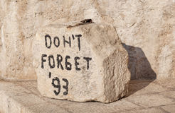 Closeup shot of Don't Forget stone. Located near the Old Bridge in Mostar, Bosnia and Herzegovina Stock Photos