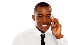 Closeup shot of executive on phone call Stock Images