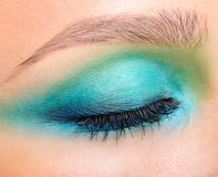 Closeup shot of female closed eye and brows with evening makeup Stock Photos
