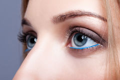 Closeup shot of female eye with day makeup Royalty Free Stock Photography