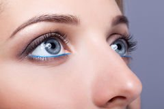 Closeup shot of female eyes with day makeup Stock Photo