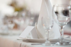 Closeup shot of a formal dinner service as at a banquet Stock Images