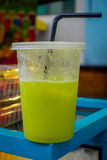 Closeup shot of fresh green juice from a street market in Kuala Lumpur Stock Photo