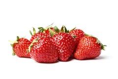 Closeup shot of fresh strawberries. Isolated on white background stock image