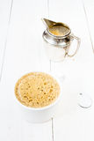 Closeup shot of freshly prepared cup of italian cappuccino with Royalty Free Stock Photos