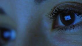 Closeup Shot Of Girl Eye Surfing Internet At Night Hd stock video