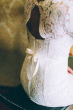 Closeup shot of gorgeous now on corset of wedding dress Royalty Free Stock Photo
