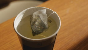 Closeup shot of green tea in transparent pyramid brewed in paper cup stock footage