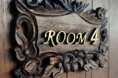 Closeup shot of a hostel door Room Stock Photography