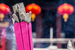 Closeup shot of joss stick in a Chinese temple Stock Photography