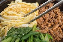 Closeup shot of Korean bibimbap stock images