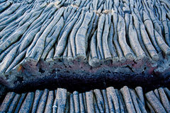 Closeup shot of lava formations in Santiago Island Stock Photo