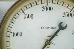 Closeup shot of a manometer pressure gas water liquid test gauge vintage old Stock Photography