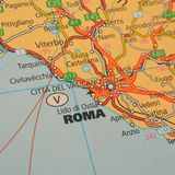 Rome. Closeup shot of a map of rome, italy Royalty Free Stock Images