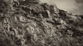 Closeup shot of Mountain with some cloud on the blue clear sky i. N black and white tone in sunny day Royalty Free Stock Photo