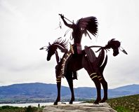 Native Sculpture at Lake Osoyoos, British Columbia, Canada. Closeup shot of native sculpture making offering in the Okanagan Valley, Southwestern Canada. Canada` Stock Photo