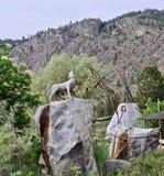 Native Sculptures at Lake Osoyoos, British Columbia, Canada. Closeup shot of native sculptures at cultural center in the Okanagan Valley, Southwestern Canada Royalty Free Stock Photography