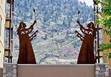 Native Sculptures at Lake Osoyoos, British Columbia, Canada. Closeup shot of native sculptures at resort in the Okanagan Valley, Southwestern Canada. Canada`s Stock Photos