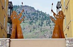 Native Sculptures at Lake Osoyoos, British Columbia, Canada. Closeup shot of native sculptures at resort in the Okanagan Valley, Southwestern Canada. Canada`s Royalty Free Stock Photo