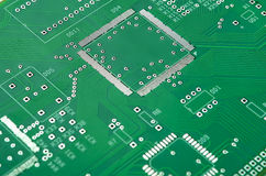 Closeup Shot of New Printed Circuit Board Without Any Components Stock Image
