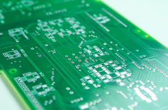 Closeup Shot of New Printed Circuit Board Prior to SMD and DIP Componentry Mounting. Royalty Free Stock Image