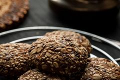 Closeup shot of an oatmeal cookies, selective focus.  stock photos