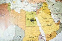 Free Closeup Shot Of A Black Pin On Egypt Country On The Map Stock Photography - 163731602