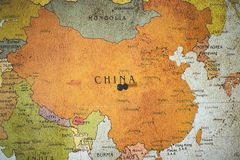 Free Closeup Shot Of A Black Pin On The China Country On The Map Stock Photo - 164242730