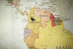 Free Closeup Shot Of A Black Pin On The Colombia Country Ion The Map Royalty Free Stock Image - 163833866