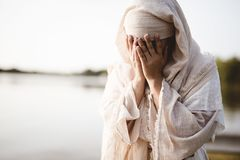 Free Closeup Shot Of A Female Wearing A Biblical Robe Crying  - Concept Confessing Sins Stock Image - 161821851