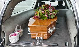 Free Closeup Shot Of A Funeral Casket In A Hearse Or Chapel Or Burial At Cemetery Stock Photo - 161118000