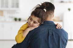 Free Closeup Shot Of Caring Dad Comforting Upset Little Daughter At Home Stock Images - 225351104