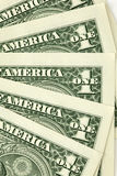 Closeup shot of one dollar bills. Closeup shot of five one dollar bills Stock Photography