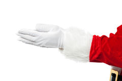 Closeup shot of open palms of Santa Royalty Free Stock Photo