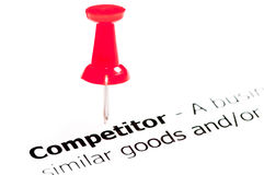 Closeup shot over word Competitor on paper Royalty Free Stock Photo