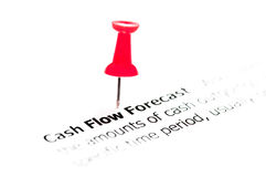 Closeup shot over words Cash Flow Forecast on paper Royalty Free Stock Photo