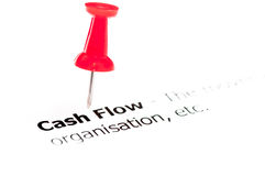 Closeup shot over words Cash Flow on paper Stock Photos