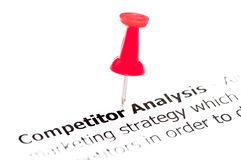 Closeup shot over words Competitor Analysis on paper Stock Image