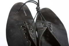 Closeup Shot of Pair of Worn-out Latin Ballroom Dance Shoes. Against White Royalty Free Stock Image