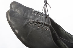 Closeup Shot of Pair of Worn-out Latin Ballroom Dance Shoes. Against White Stock Photos