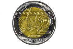 Closeup Shot Peru Two Soles Coin Head Side Stock Photography