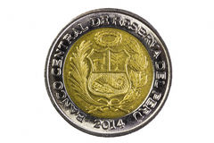 Closeup Shot Peru Two Soles Coin Tail Side Stock Image