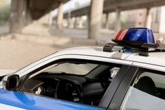 Closeup shot of police car with siren. On rooftop stock image
