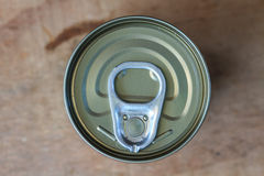 Closeup shot from the pull ring on a beverage can Stock Photography